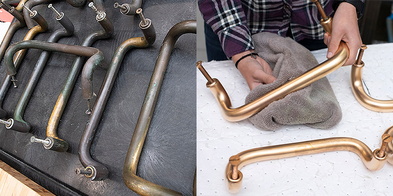 Copper Door Handles Before-After